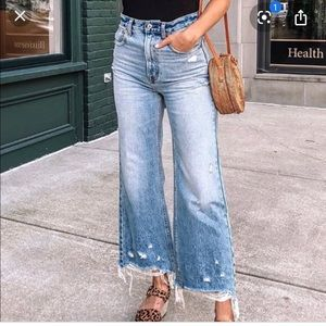 Abercrombie High Rise Wide Leg Crop Jeans
